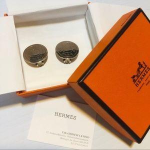 HERMÈS Silver Hermès Paris Circle Logo Earrings